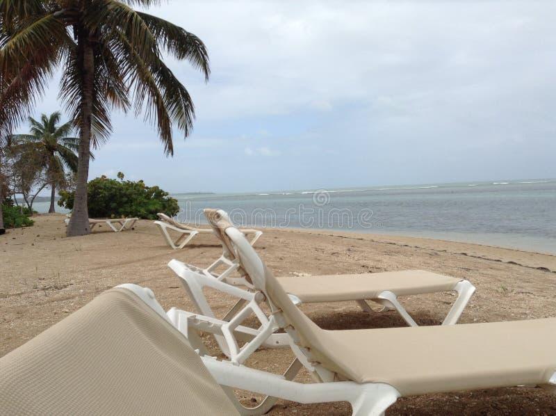 Einsamer Strand Chaise Loungers lizenzfreies stockbild
