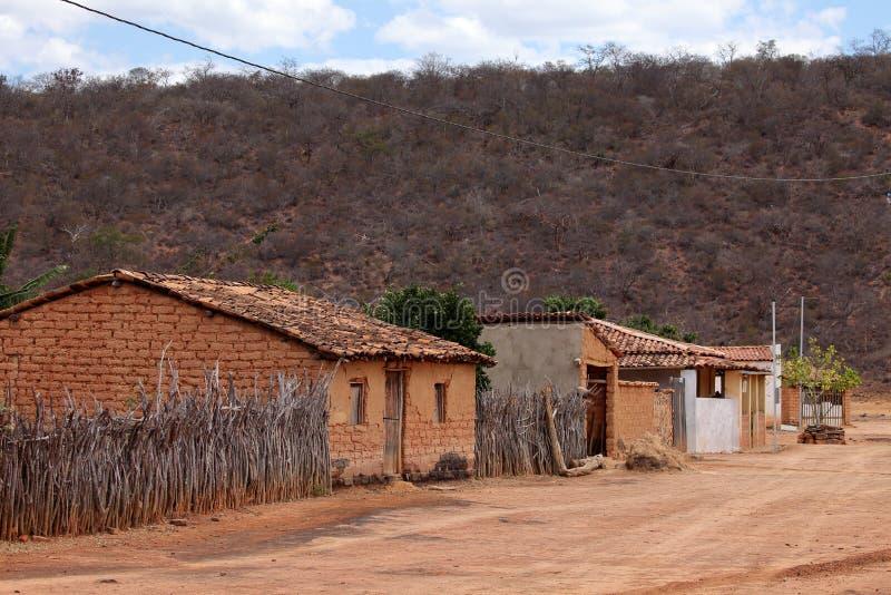 Einsames Dorf Queixo Dantas im Caatinga von Brasilien stockbilder