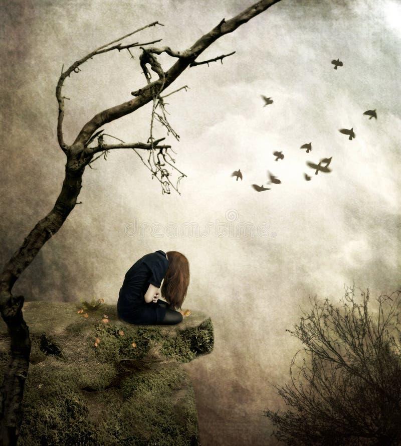 Einsames Mädchen, das auf einem Felsen in der Sorge sitzt lizenzfreie abbildung