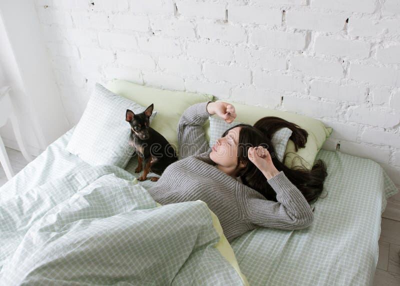 Einsames Mädchen wachen mit Hund auf lizenzfreie stockbilder
