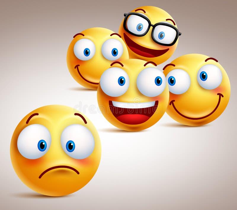 Einsames smileygesichtsvektor-Charakterkonzept mit Gruppe lustigen Gesichtern von Freunden lizenzfreie abbildung