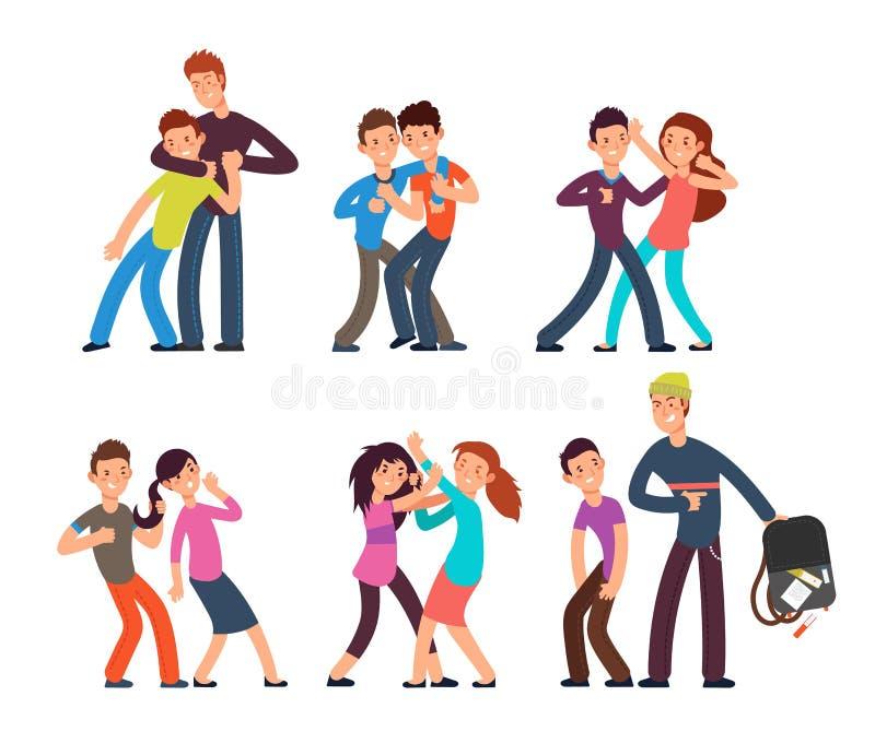 Einschüchterungskinder Stoppen Sie Schultyrann Aggressive und traurige Kinder Jugendlich-Vektorcharaktere der Karikatur kämpfende vektor abbildung