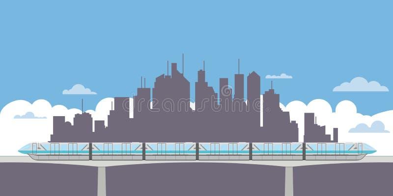 Einschienenbahnzug und Stadtschattenbildfahne stock abbildung