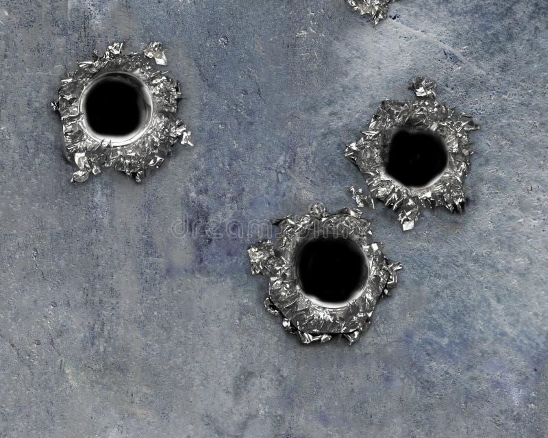 Einschussloch auf verrostetem Metall lizenzfreie stockfotografie
