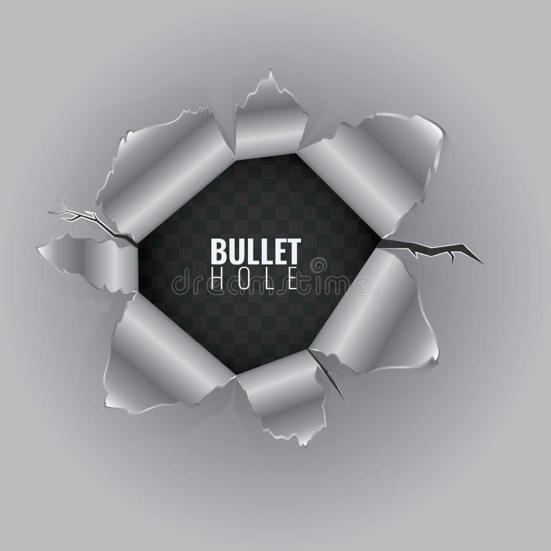 Einschussloch im harten Metallmaterial mit zerrissenen Stahlrändern Vektorillustration lokalisiert auf transparentem Hintergrund stock abbildung