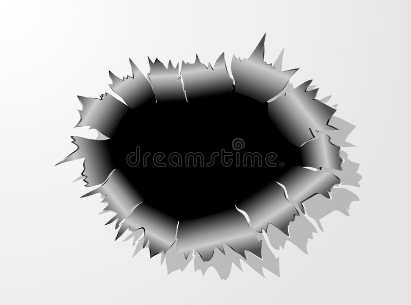 Einschussloch-Metallsprung lizenzfreie abbildung