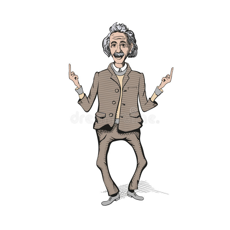 Einshtein vilain avec des cheveux et moustache montrent le symbole indécent illustration libre de droits