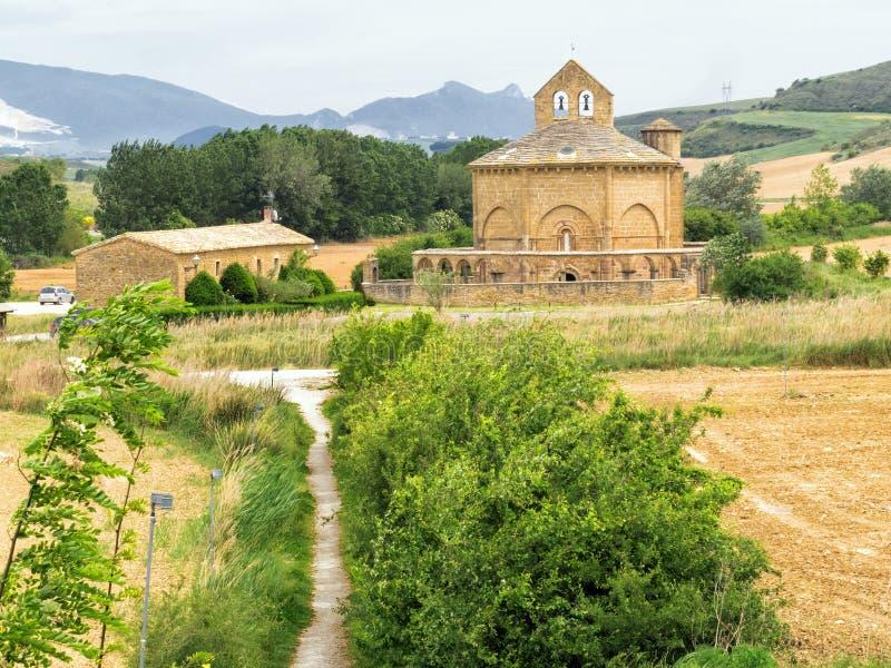 Einsiedlerei-Heilige Maria von Eunate, Straße nach Santiago, Navarra, Spanien stockfotografie