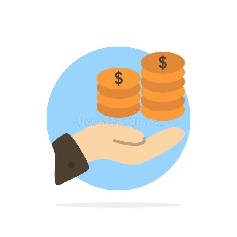 Einsparungen, Sorgfalt, Münze, Wirtschaft, Finanzierung, Guarder, Geld, flache Ikone Farbe des abstrakten Kreis-Sicherungshinterg stock abbildung