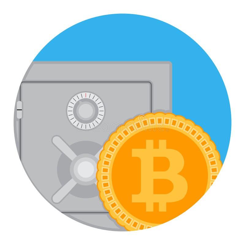 Einsparungen und Ansammlung flacher APP bitcoin Ikone vektor abbildung