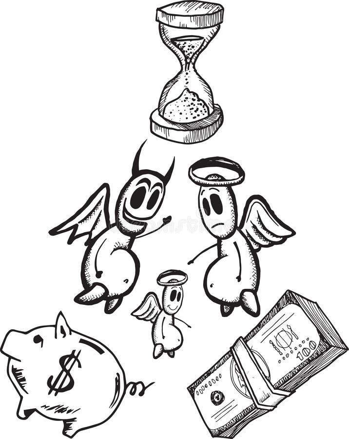 Einsparungen und Ausgabenkonzeptillustrationen mit Engel und Teufel stock abbildung