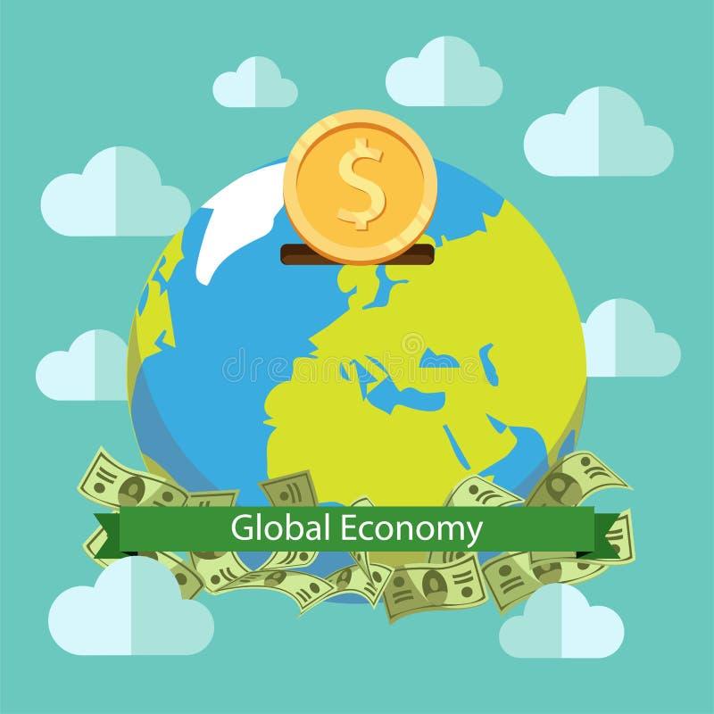Einsparungensvektor-Illustrationsdesign der globalen Wirtschaft Welt Globale Investition vektor abbildung