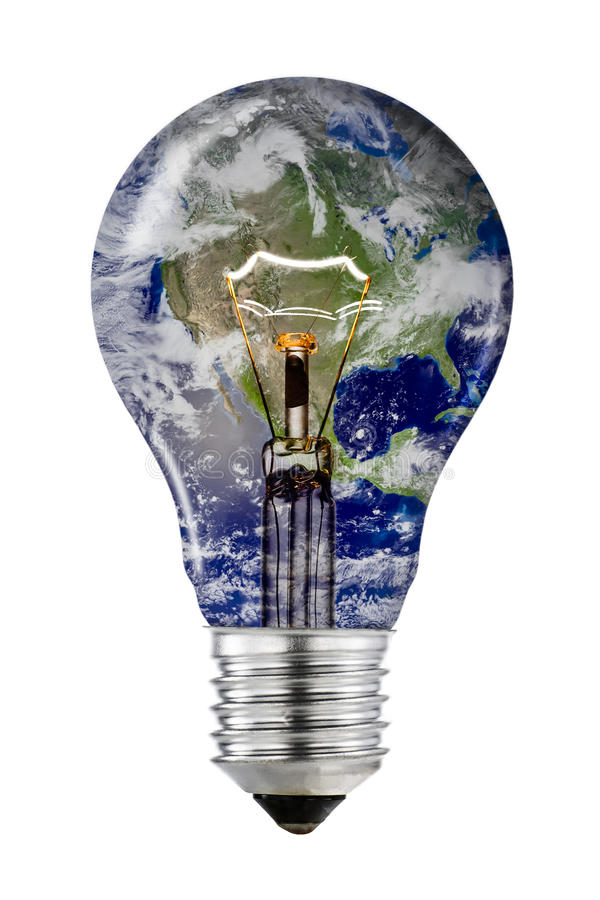 Einsparungs-Energie - Glühlampe mit die NASA-Bild stockbild