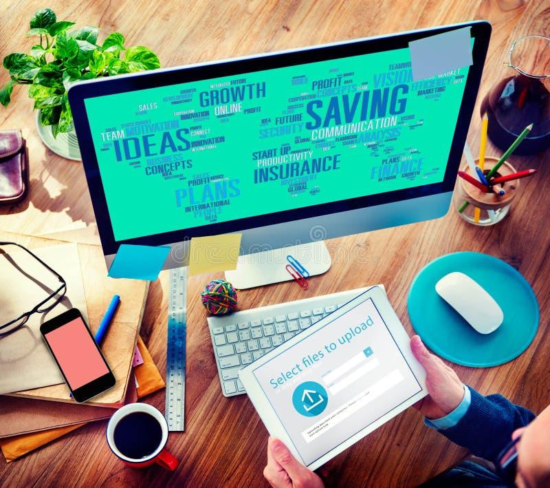 Einsparungs-Versicherungs-Ideen-Finanzwachstums-Analyse-Konzept stockfotografie