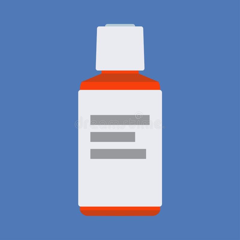 Einspritzungsflaschenkrankheitssorgfaltdosis-Vektorikone Blauer Impfstoff der antibiotischen gesunden Medikamentimmunität lizenzfreie abbildung