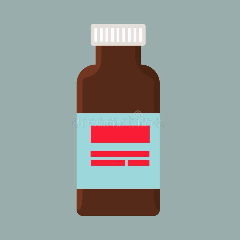 Einspritzungsflaschenkrankheitssorgfaltdosis-Vektorikone Blauer Impfstoff der antibiotischen gesunden Medikamentimmunit?t stock abbildung
