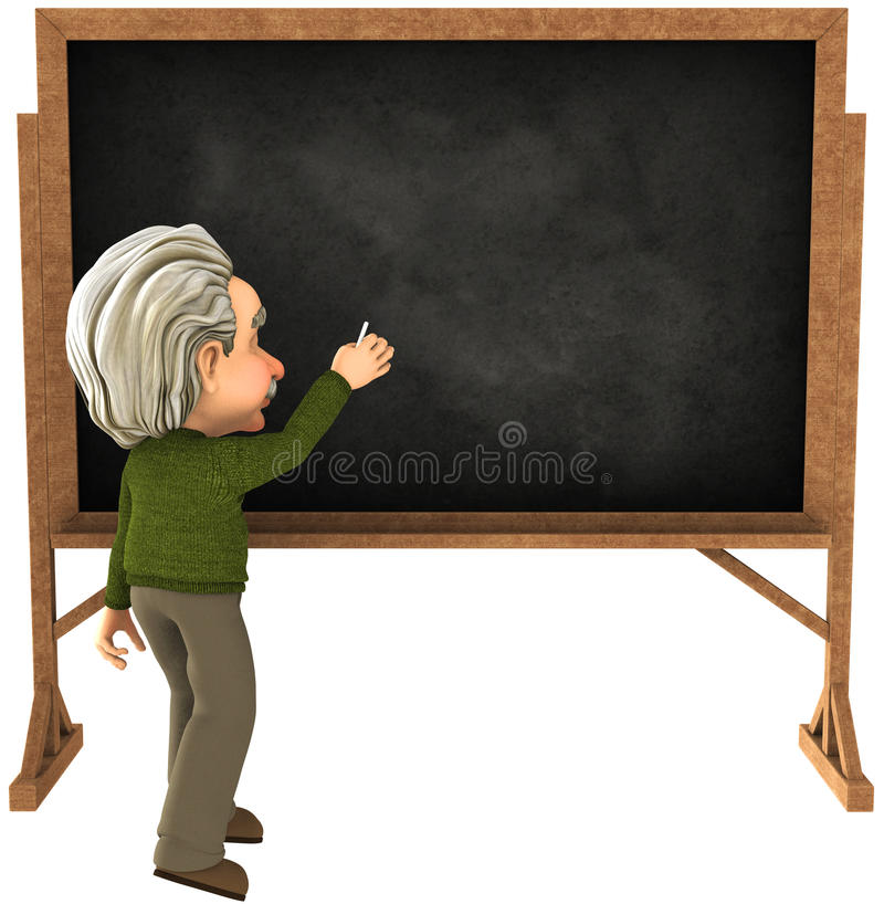 Einstein Chalkboard Teacher Lecture Illustration. Illustration of a cartoon caricature of Albert Einstein giving a lecture as a teacher. The scientist is writing stock illustration