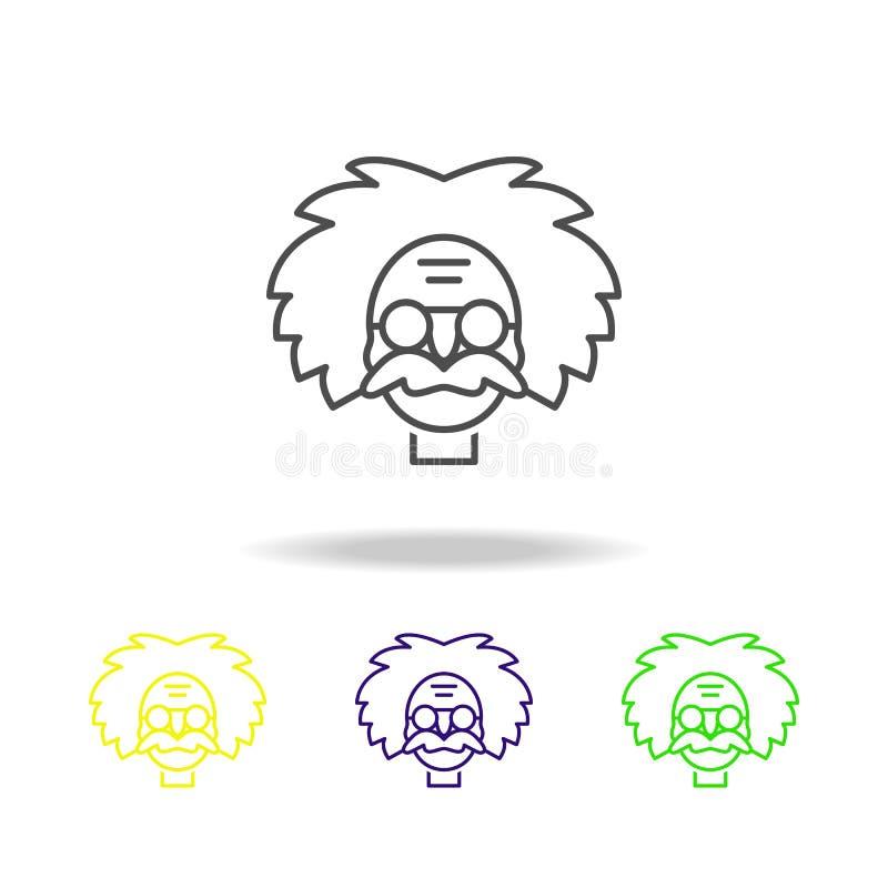 einstein coloreó iconos Elemento del ejemplo de la ciencia Línea ejemplo fina para el diseño y el desarrollo, app del sitio web ilustración del vector