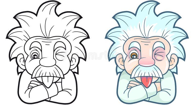 Einstein divertido muestra su lengua ilustración del vector