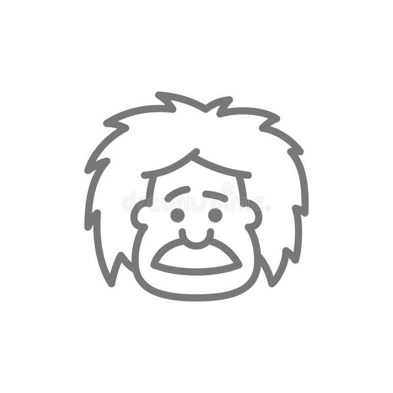 Einstein, l?nea icono del profesor, del profesor o del cient?fico ilustración del vector