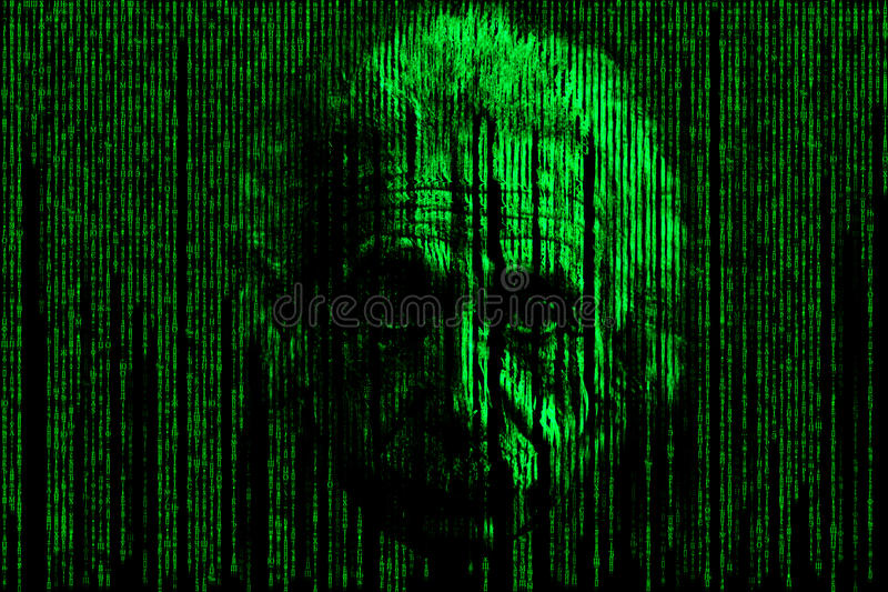 Einstein matrix style background consisting of symbols and numbers form a face resembling albert Einstein in matrix style stock illustration
