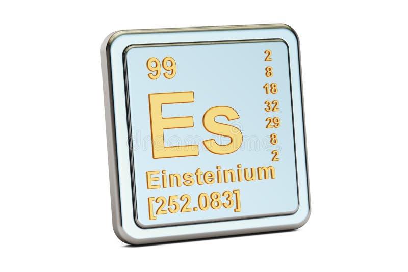 Einsteinium S, chemisch elemententeken het 3d teruggeven vector illustratie