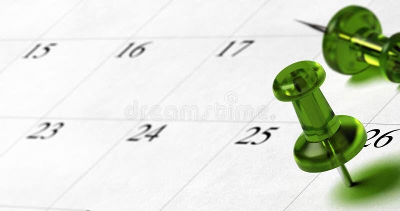 Einstellen eines Verabredungsdatums an einer Tagesordnung lizenzfreie abbildung
