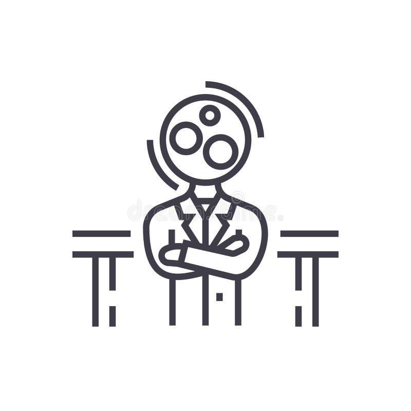 Einstellung, Analytikmanager-Vektorlinie Ikone, Zeichen, Illustration auf Hintergrund, editable Anschläge lizenzfreie abbildung