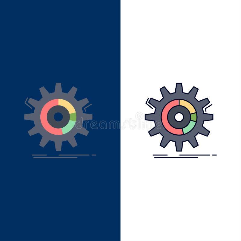 Einstellung, Daten, Management, Prozess, Fortschritt flacher Farbikonen-Vektor lizenzfreie abbildung