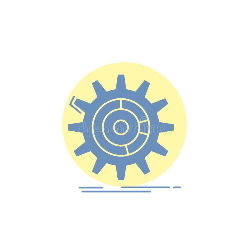 Einstellung, Daten, Management, Prozess, Fortschritt Glyph-Ikone vektor abbildung