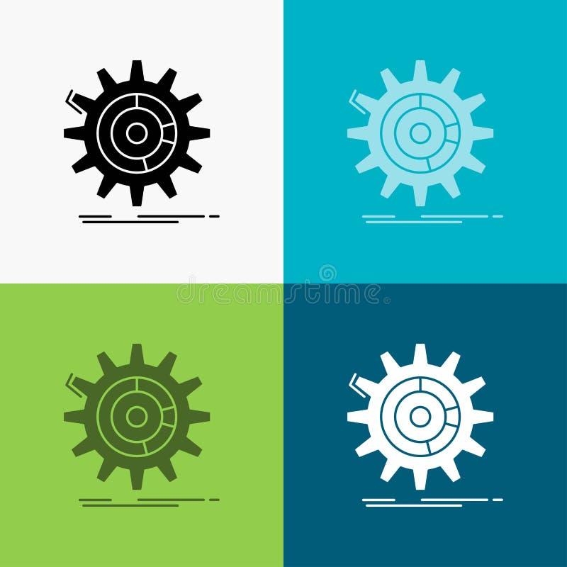 Einstellung, Daten, Management, Prozess, Fortschritt Ikone über verschiedenem Hintergrund Glyphartdesign, bestimmt f?r Netz und A lizenzfreie abbildung