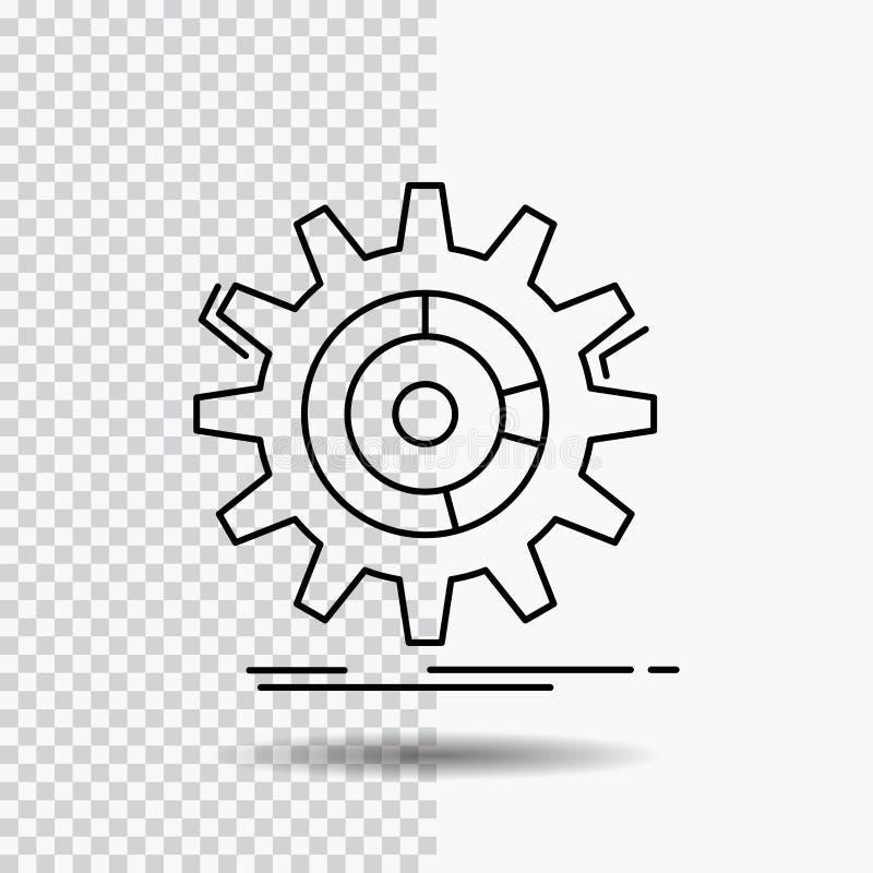 Einstellung, Daten, Management, Prozess, Fortschritt Linie Ikone auf transparentem Hintergrund Schwarze Ikonenvektorillustration lizenzfreie abbildung