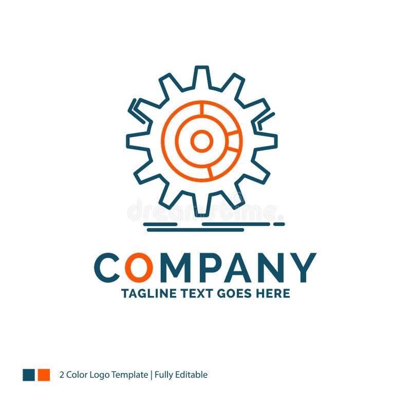 Einstellung, Daten, Management, Prozess, Fortschritt Logo Design Blau a vektor abbildung