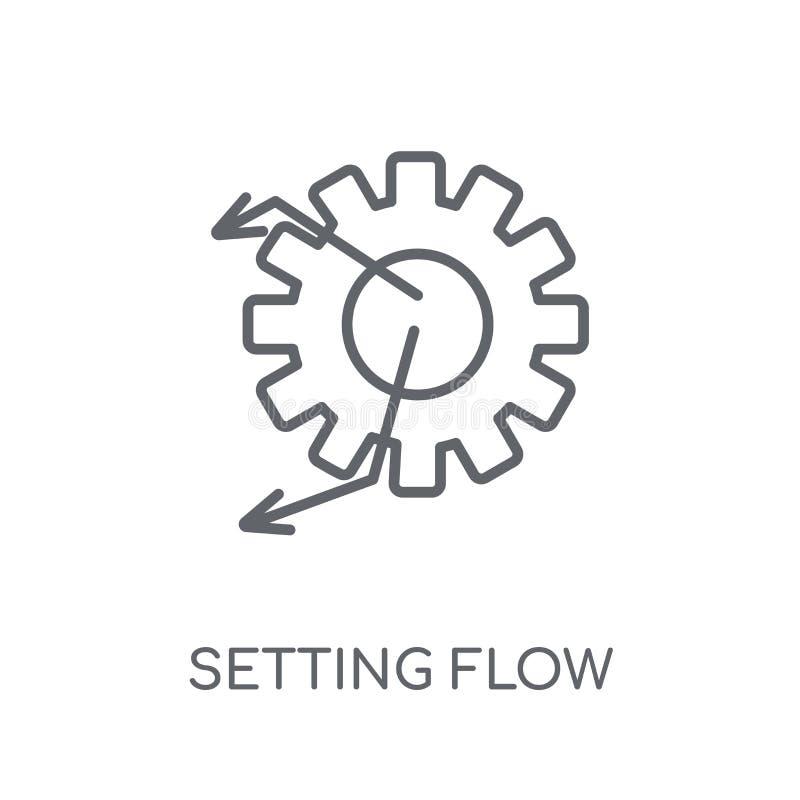 Einstellung der linearen Ikone des Flussschnittstellen-Symbols Moderner Entwurf Settin lizenzfreie abbildung