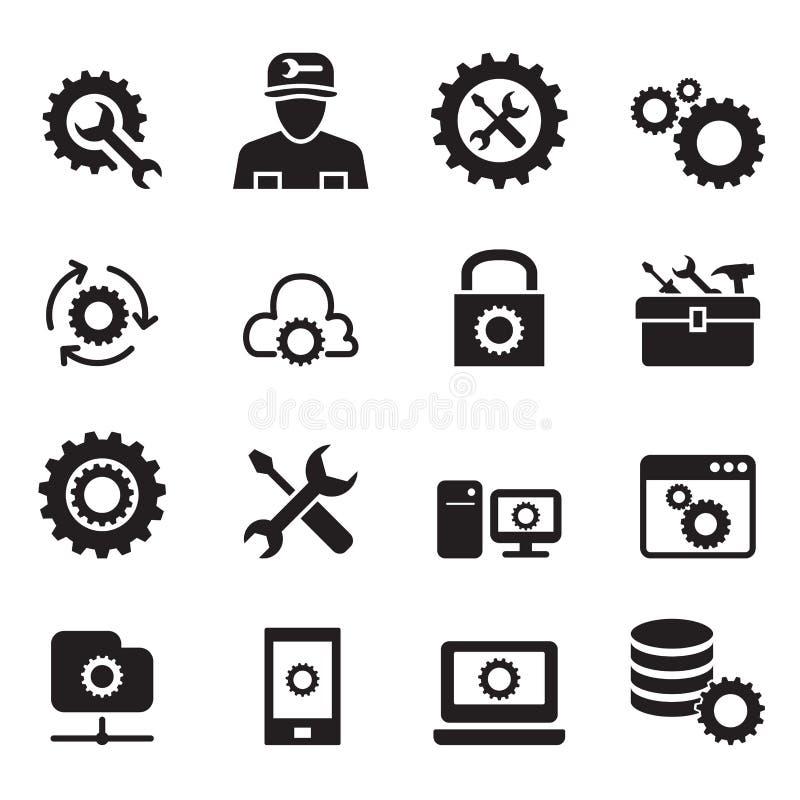 Einstellung, Konfiguration, Einrichtung, Reparatur, abstimmender Ikonensatz stock abbildung