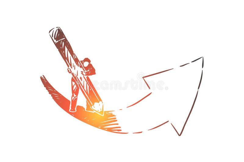 Einstellung von Zielen Metapher, Mannzeichnungspfeil mit enormem Bleistift lizenzfreie abbildung