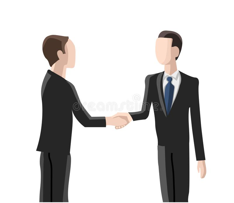 Einstellung, zwei Männer, die Hände rütteln stock abbildung