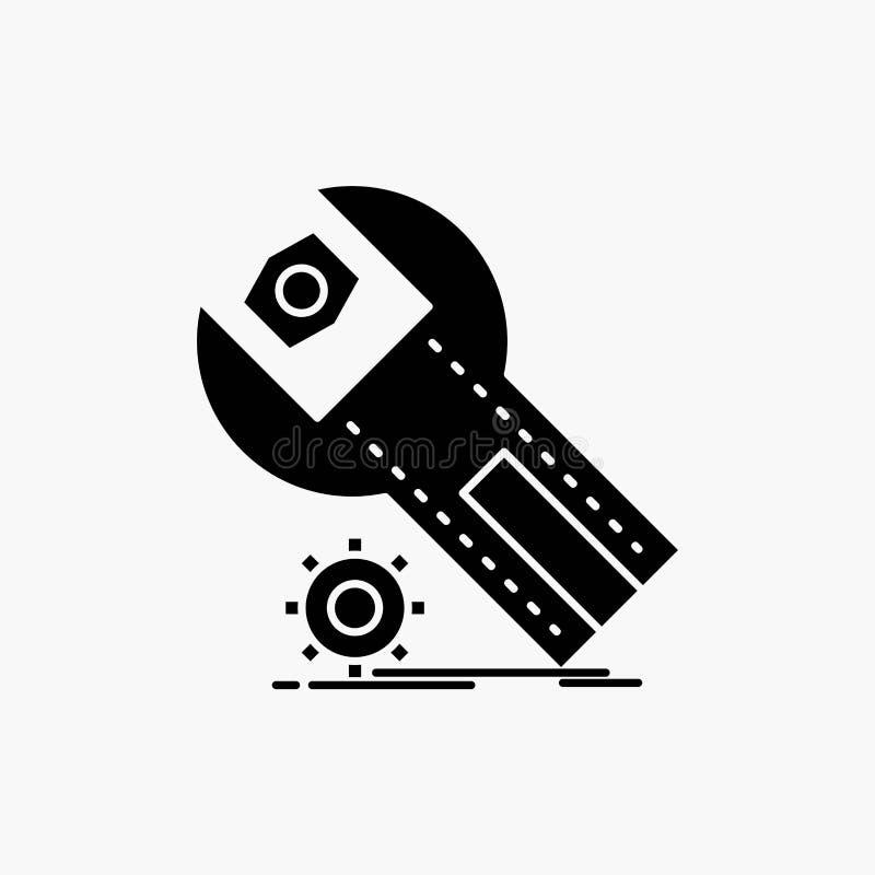 Einstellungen, App, Installation, Wartung, Service Glyph-Ikone Vektor lokalisierte Illustration vektor abbildung