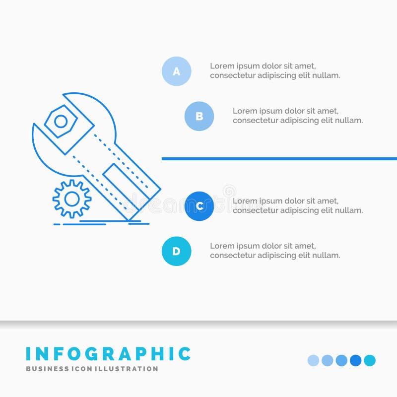 Einstellungen, App, Installation, Wartung, Service Infographics-Schablone f?r Website und Darstellung r lizenzfreie abbildung