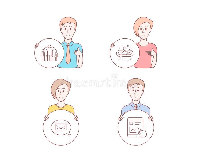 Einstellungs-, Gruppen- und Boteikonen Internet-Berichtszeichen Manageränderung, Manager, neue Mitteilung Vektor lizenzfreie abbildung