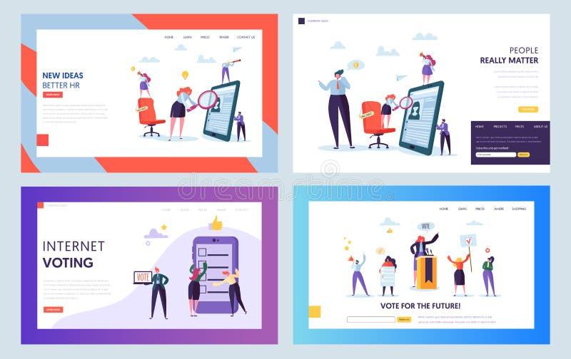 Einstellungs-Vorstellungsgespräch-Konzept-Landungs-Seite Freies Zeichen auf Stuhl Mann und weibliche Figur, die nach Bewerberwebs lizenzfreie abbildung