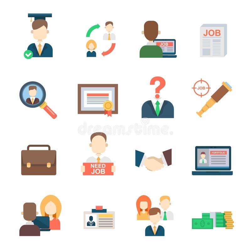 Einstellungsbeschäftigungsarbeitssitzungsmanager-Vektorikonen resourses gesetztes Büro der Jobsuche menschliche der Arbeit vektor abbildung