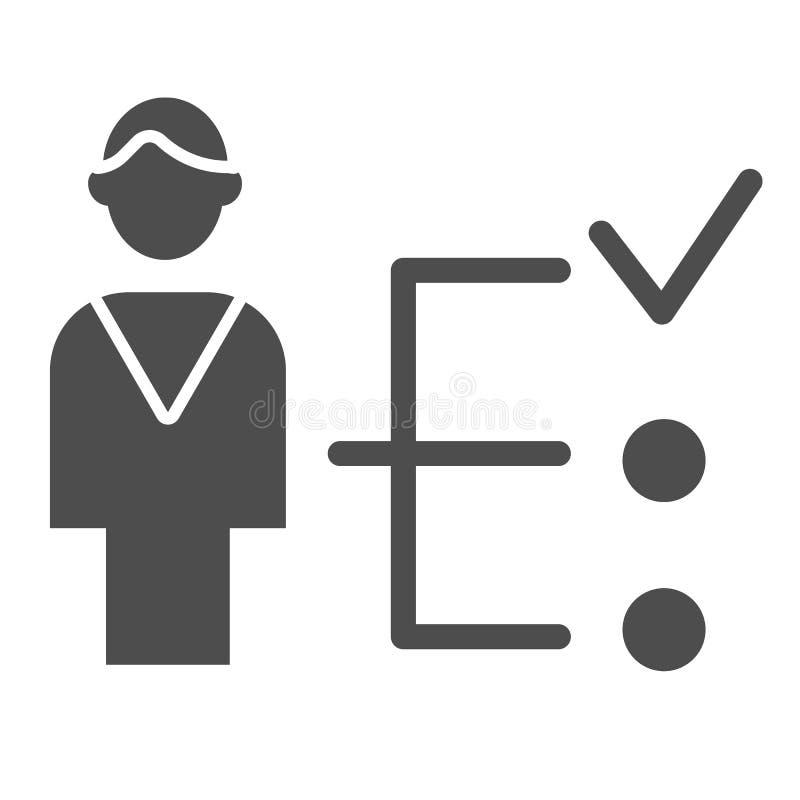 Einstellungsbewerberfeste Ikone Mann mit der Zeckenvektorillustration lokalisiert auf Weiß Spezialist Glyph-Artentwurf stock abbildung