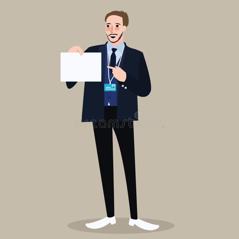 EinstellungseinstellungsGeschäftsmann, der das Zeichen zeigt Weißbuch hält lizenzfreie abbildung