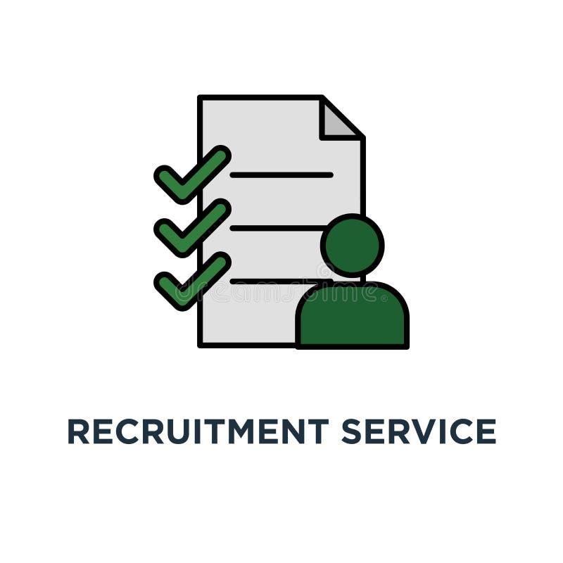 Einstellungsservice-Ikone Personalkonzept-Symbolentwurf, wählen Kandidaten, Füllefreie stelle, Beschäftigung, Haarstrichvektor vektor abbildung