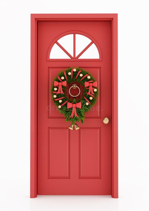 Einstiegstür mit Weihnachtswreath lizenzfreie abbildung