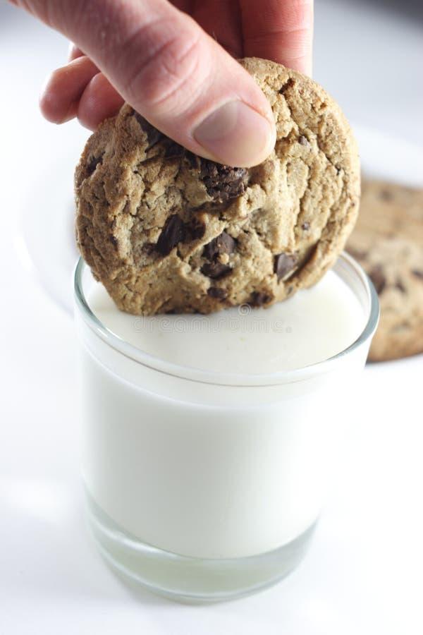 Eintauchen des Plätzchens in der Milch. lizenzfreie stockbilder
