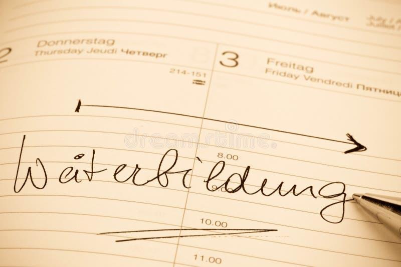 Eintritt zum Kalendertraining lizenzfreies stockbild