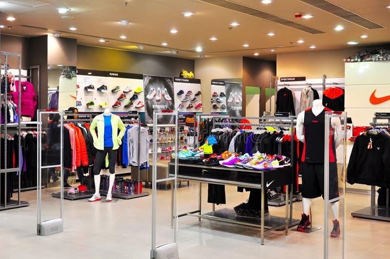 Einzelhandelsgeschäft der Nike, Hong Kong lizenzfreie stockfotos