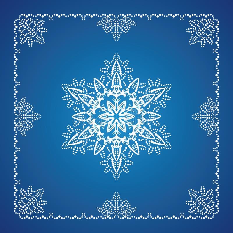 Einzelne ausführliche Schneeflocke mit Weihnachtsrand lizenzfreie abbildung